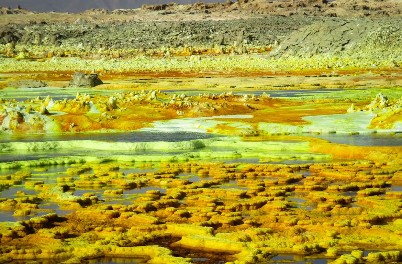 Águas de enxofre do Lago Asale, Danakil, Etiópia