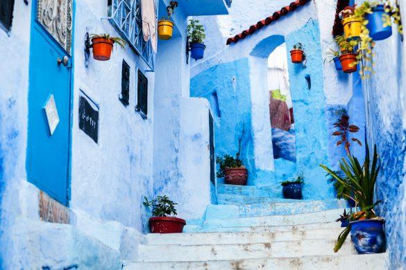 Ruelas pintadas de azul, Chefchaouen, Marrocos.