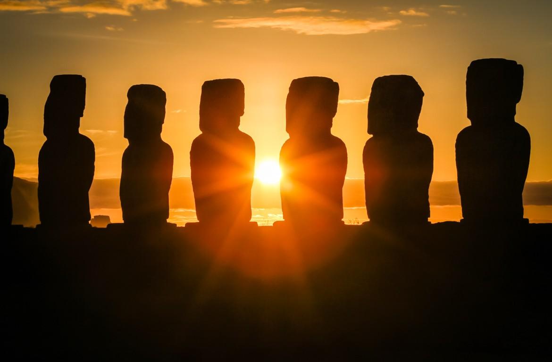 Pôr-do-sol na Ilha da Páscoa, Chile
