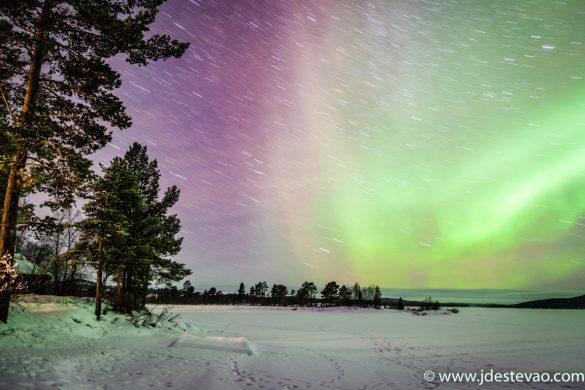 Aurora Boreal, ou Luzes do Norte, Inari, Lapónia, Finlândia