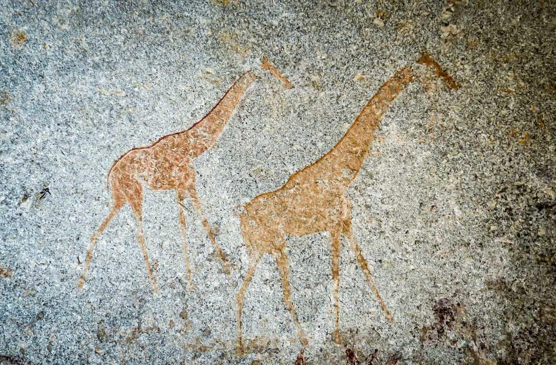Pintura rupestre do Parque Nacional de Matobo, ou Colinas de Matobo, no Zimbabué