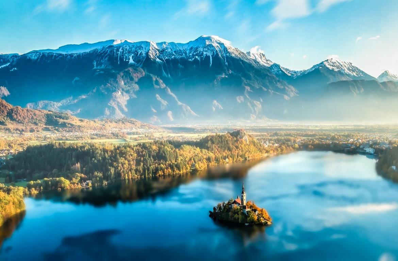 Lago Bled, Alpes Julianos, na Eslovénia