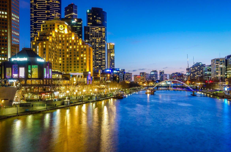 Pôr-do-sol em Melbourne, Austrália.