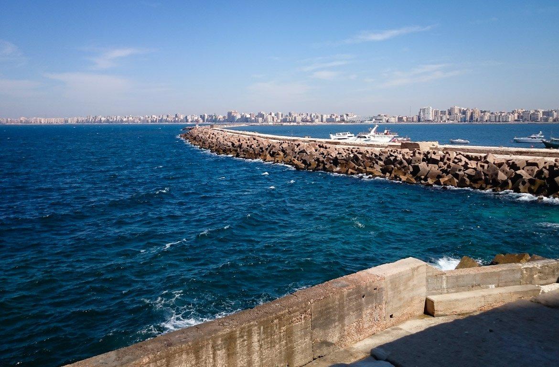 Vista panorâmica do Porto de Alexandria, no Egipto.