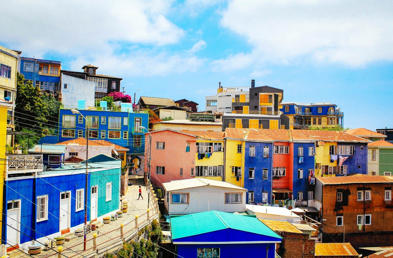 Prédios coloridos em Valparaíso, Chile
