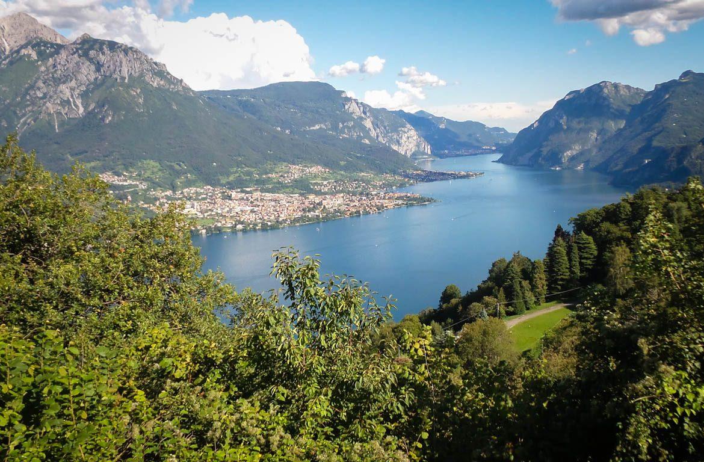 Vista aérea do Lago Como, Lombardia, Itália