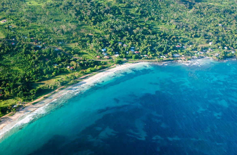 Vista aérea das Ilhas do Milho ou Islas Maíz, Nicarágua