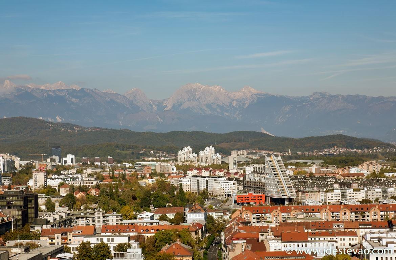 Vista aérea de Ljubljana, Eslovénia