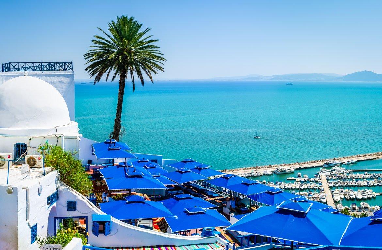 Vista panorâmica de Sidi Bou Said, Tunísia