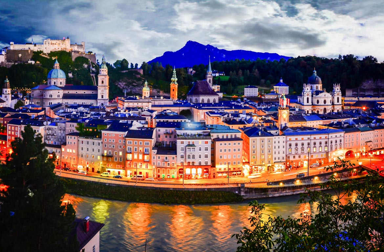 Vista panorâmica de Salzburgo, Áustria
