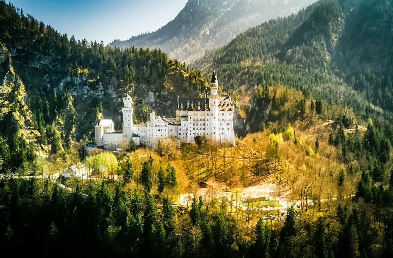 Vista panorâmica do Castelo de Neuschwanstein, Alemanha