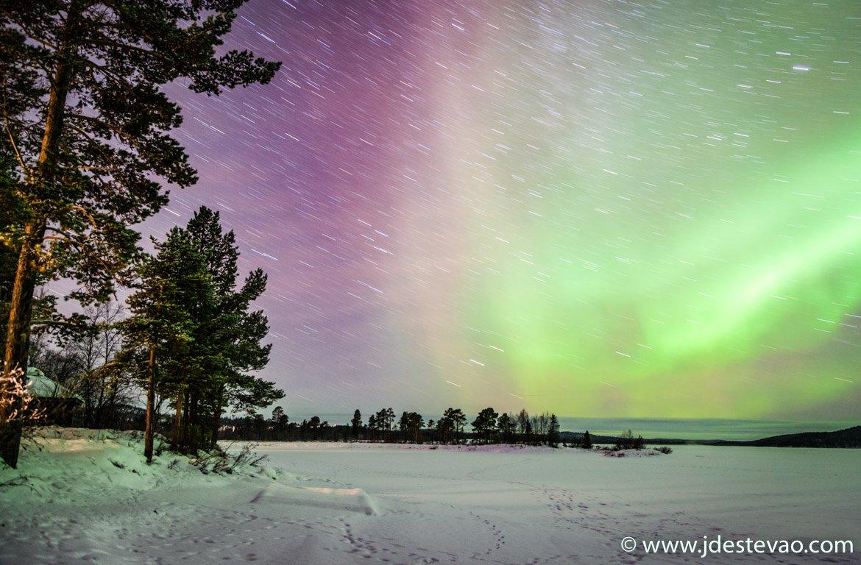 Luzes do Norte em Inari, Finlândia
