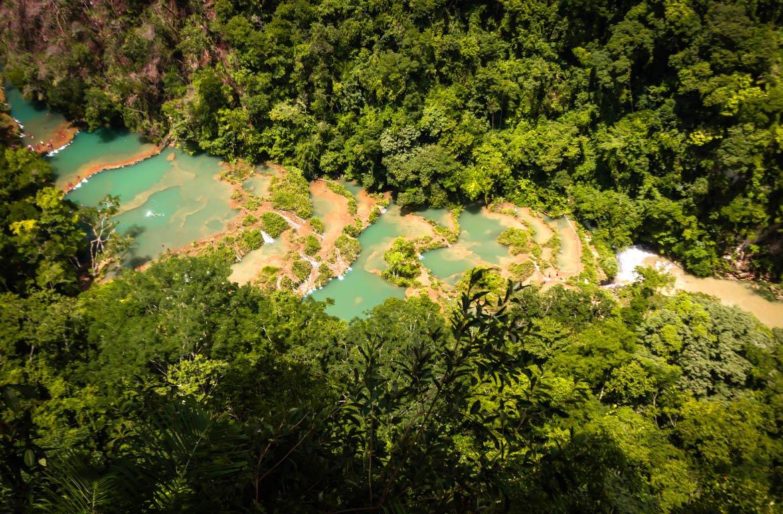 Catarata em Semuc Champey, Rio Cabahón, Guatemala