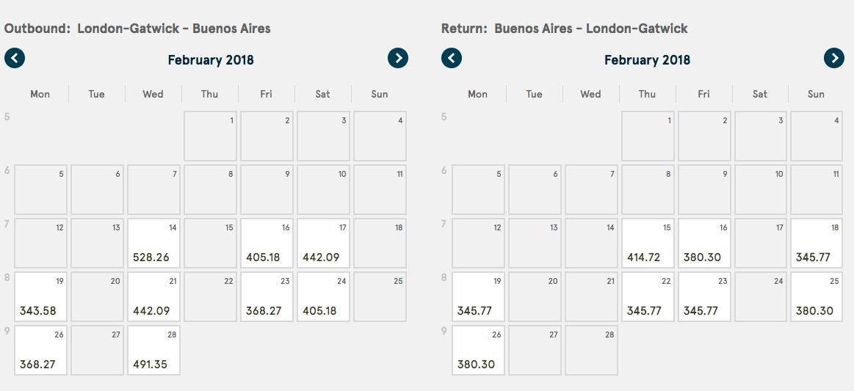 Calendário e preços do mês de estreia dos voos da Norwegian entre Londres Gatwick e Buenos Aires.