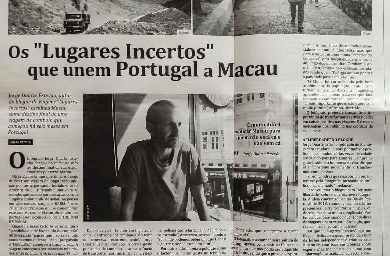 Lugares Incertos jornal Tribuna de Macau - Macau