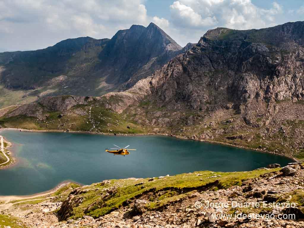 Resgate helicóptero, Snowdonia, Gales